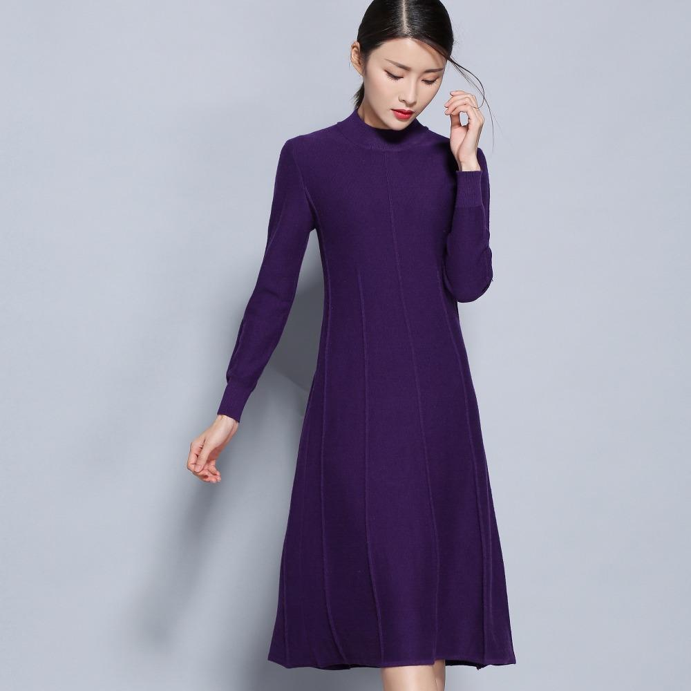 2019 Hot Sale Women Dress Cashmere Blend Knitting Dresses Winter Warm Oneck Woman  Knitwear Longer Woolen Woman S Gown Girls Clothing From Cactuse ab32aba534a0