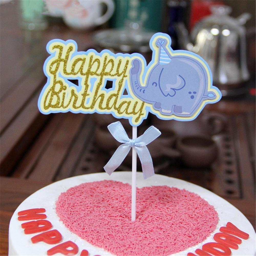 2019 CRLEY Wholesale Happy Birthday Cake Cup Toppers Cartoon Animal Elephant Baby Shower Child Kids Party Supplies From Jinggonghome