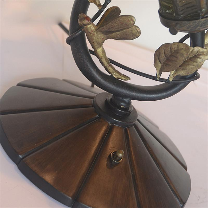 FUMAT Glass Art Lamp Quality Stained Glass Lotus Shade Table Lamp European Living Room Bedside Stand Lamp Bar Light Fixtures