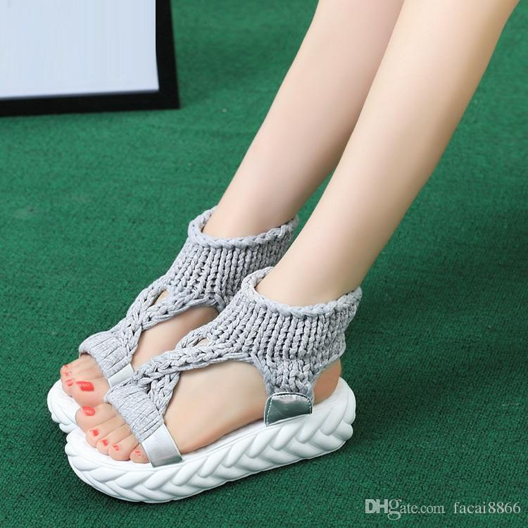 Sandal women summer thick bottom muffin shoes Korean version 2018 new open-toe Roman shoes with comfortable cross-over women shoes