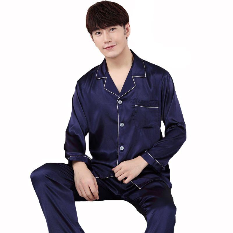 Summer New Men Silky Satin Shirt Pants Casual Pajamas Set Home Wear Turn-Down  Collar Sleepwear Suit Loose Male Nightwear Pajama Sets Cheap Pajama Sets ... 6359c0662