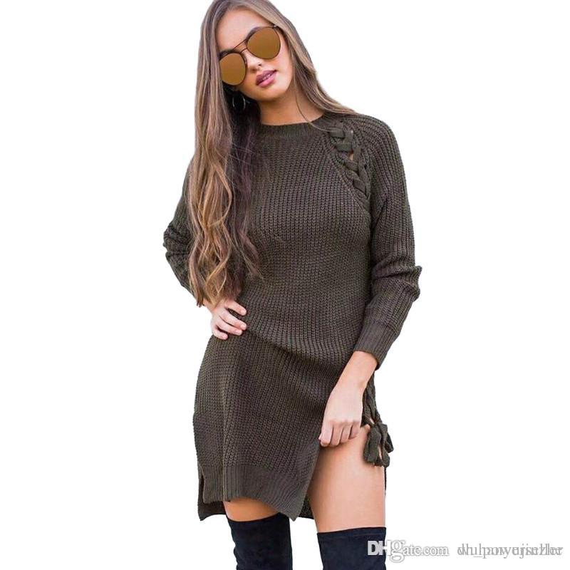 91602e46f6452 ashion Women Braided Straps Side Slit Long Sleeve Knitting Dress Casual  Party Club Long Sweaters Pullovers Ladies Knit Tops CL335