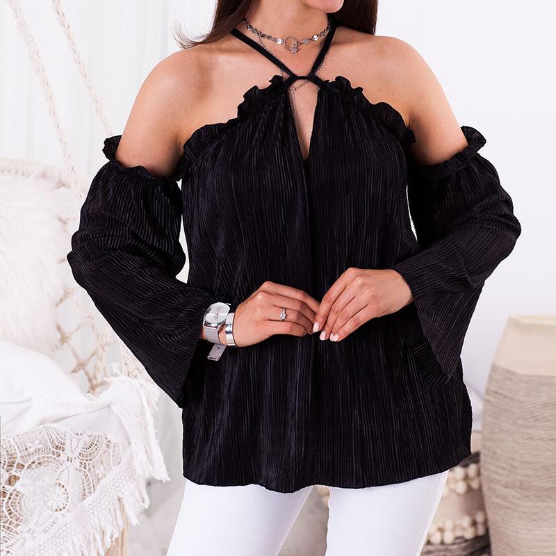 e9c8be5253a 2019 Sexy Off Shoulders Halter Shirts Womens Long Sleeve V Neck Blouse  Casual Loose Flounced Pleated Shirts Solid Color WS9530U From Illusory03,  ...