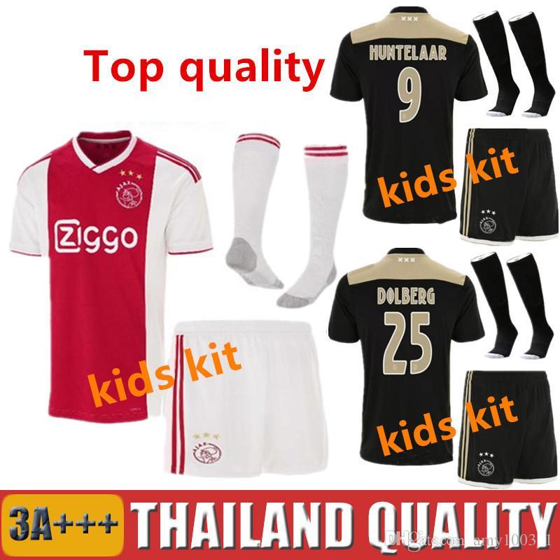55d6929e9 2018 2019 Ajax FC Kids Kit Soccer Jerseys 18 19 ZIYECH NOURI DOLBERG ...