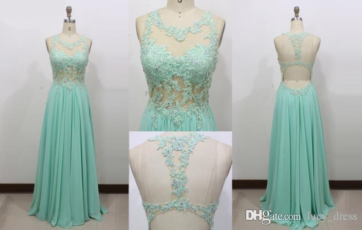 Vestidos de noche sexy apliques de encaje joya sabio con cuentas una línea larga espalda abierta vestido de fiesta de gasa vestidos del desfile de la fiesta