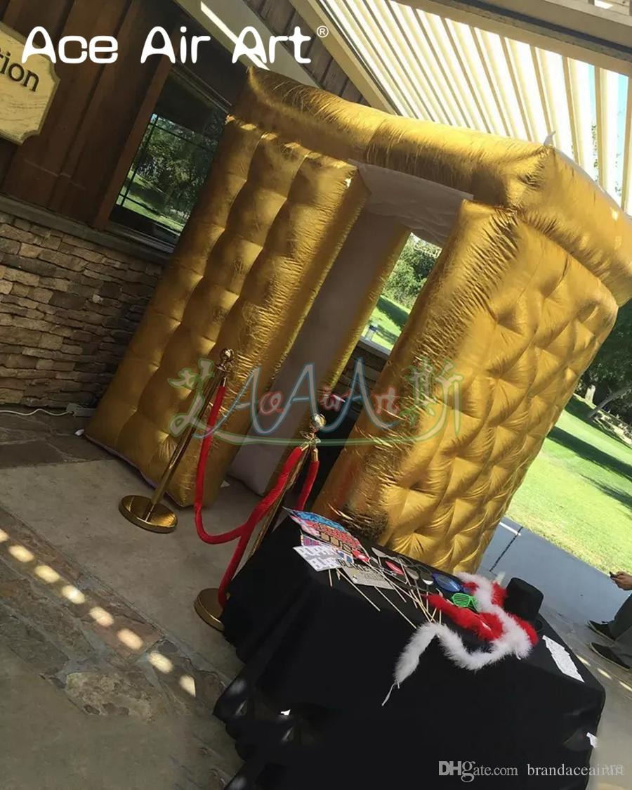 Extravagant gold inflatable sector photo booth/backdrop,foto cabinet,private photographer with led lights for wedding and party rentals