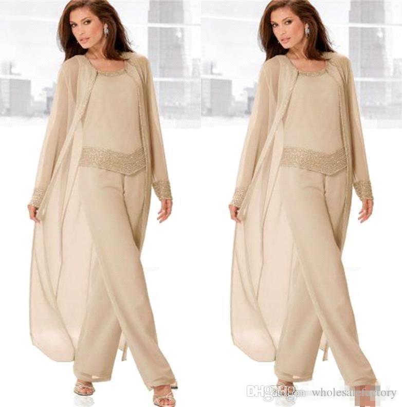 シャンパンの3ピースの母の花嫁のパンツの母親の長袖の靴のシフォン母プラスサイズのウェディングゲストのドレス