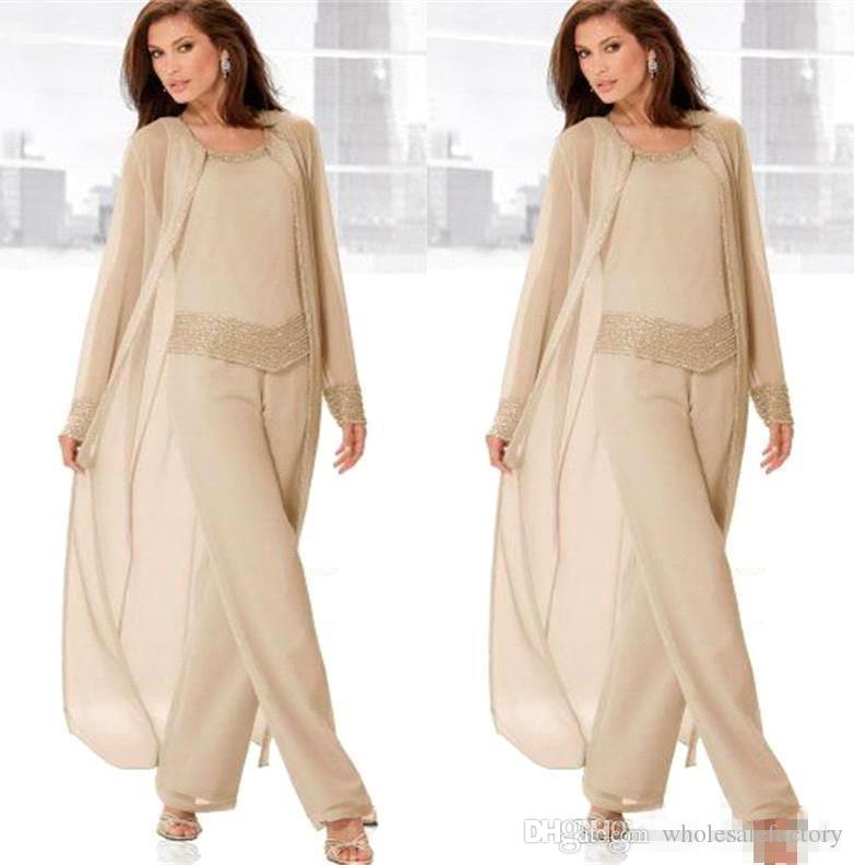 Champagne Three Piece Mother of the Bride Pant Suits with Long Jackets Long Sleeves Beaded Chiffon Mother Plus Size Wedding Guest Dress