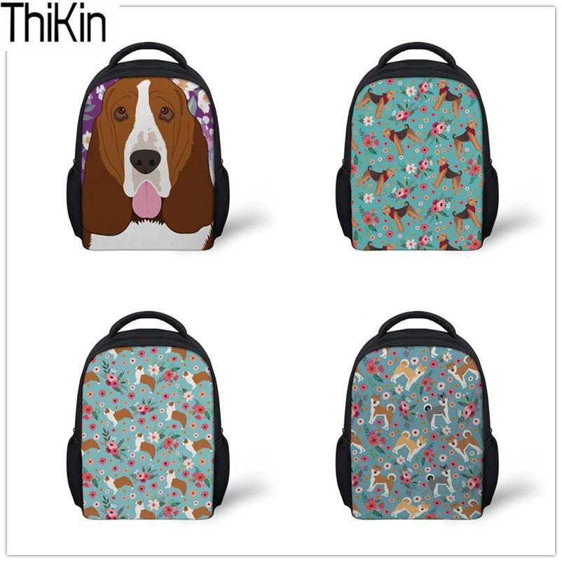 2c73d3d534bc THIKIN School Bags for Girls Basset Hound Dog Printing Schoolbag Backpacks  Kids&Baby Mini Kindergarten Backpack Children Book