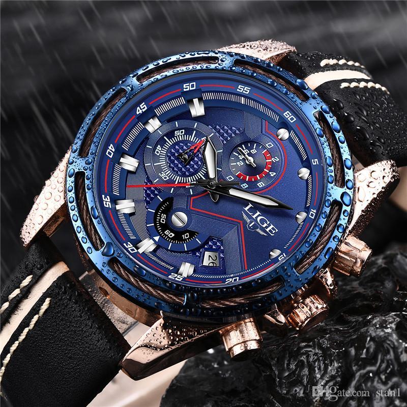 3819141abfec Compre 2018 LIGE Nuevo Diseño Marca De Moda Relojes Para Hombre De Cuero  Deporte Fecha Cronógrafo Reloj De Cuarzo Regalos Masculinos Reloj Relogio  Masculino ...