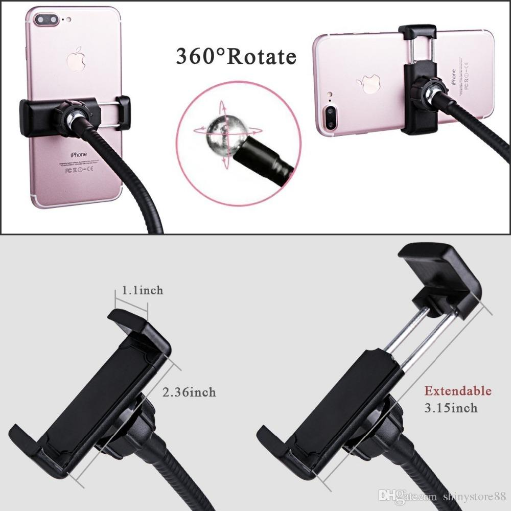 2 in 1 Cell Phone Holder Bracket with Selfie Ring Light with LED Light for Live Stream Clamp for Mobile iphone 360 degree