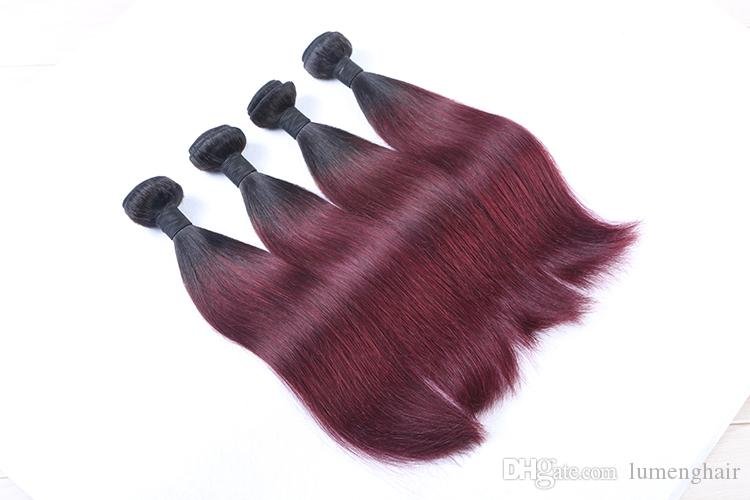 Burgundy Brazilian Straight Hair Ombre Human Weave Bundles Two Tone 1b 99J Hair Weaving 100g/pc Non Remy Hair