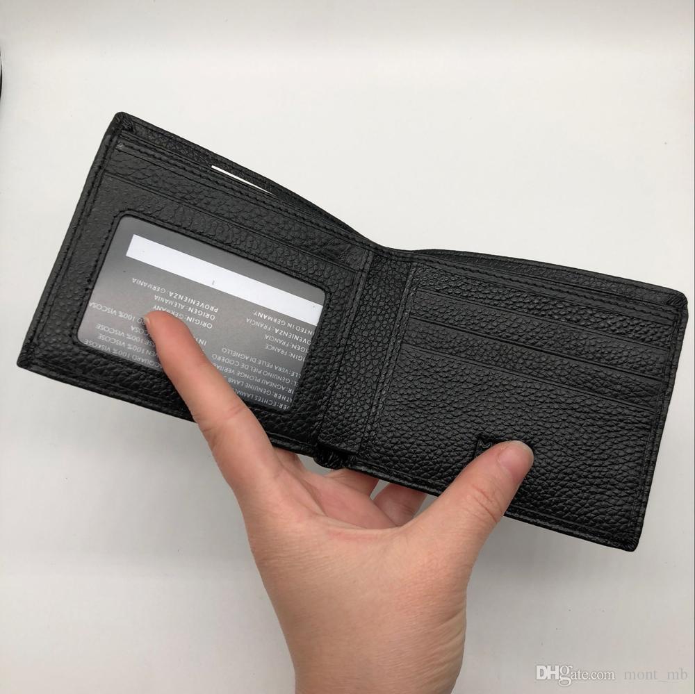 New men's original Litchi skin MB business luxury short clip brand designer card box pocket fashion M B credit card holder MT wallet