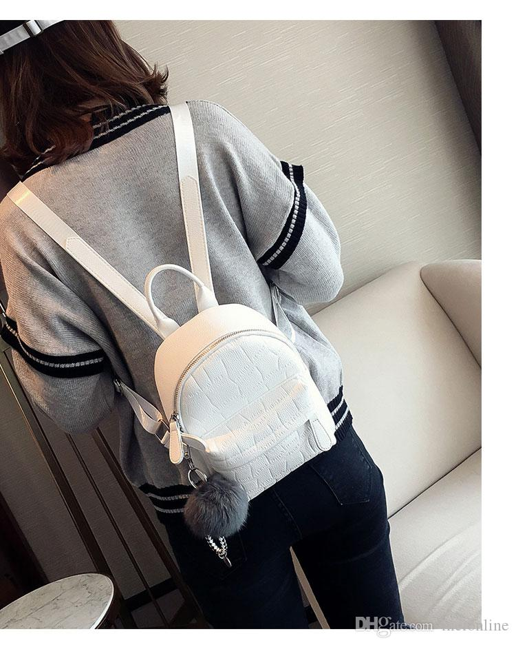 New Janpan and Korean style Solid Bags PU leather zipper Plain Two Shoulder straps black white color two size with Pom Poms designer bag