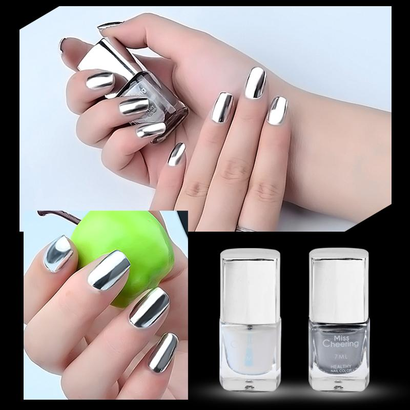 Elecool 7ml Metal Nail Polish Plating Silver Chrome Nagellak Nail