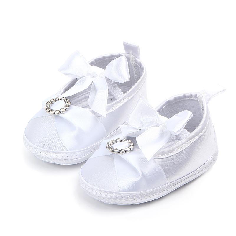 c2e6cec943764 Acheter Nouveau Né Bébés Filles Chaussures Blanc Pur Baptême Premier Walker  Grand Noeud Arc Infant Enfant Tout Petit Chaussures Semelle Souple  Antidérapant ...