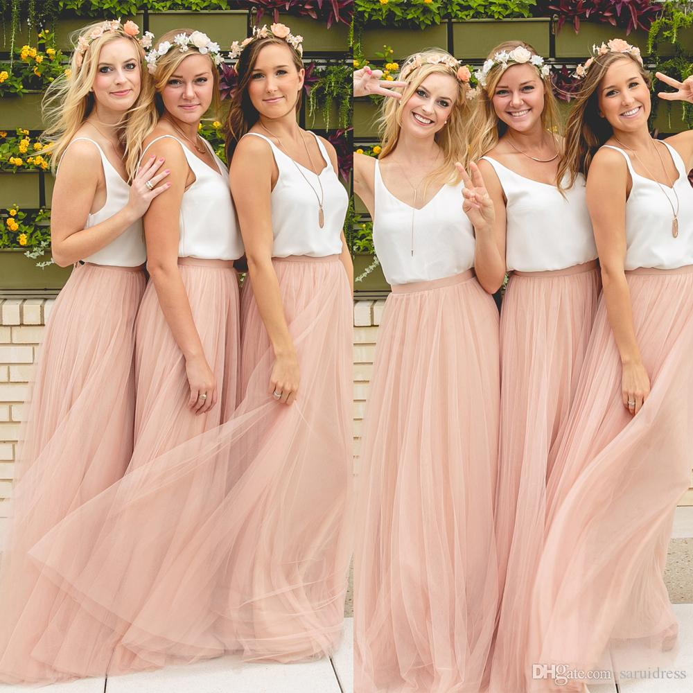d7c9c3e85c Hot Cheap Two Pieces Bridesmaid Dresses Tulle Skirt Blush Prom Dresses  Bridesmaid Maxi Skirt Evening Party Gowns Cheap Red Bridesmaid Dresses  Convertible ...