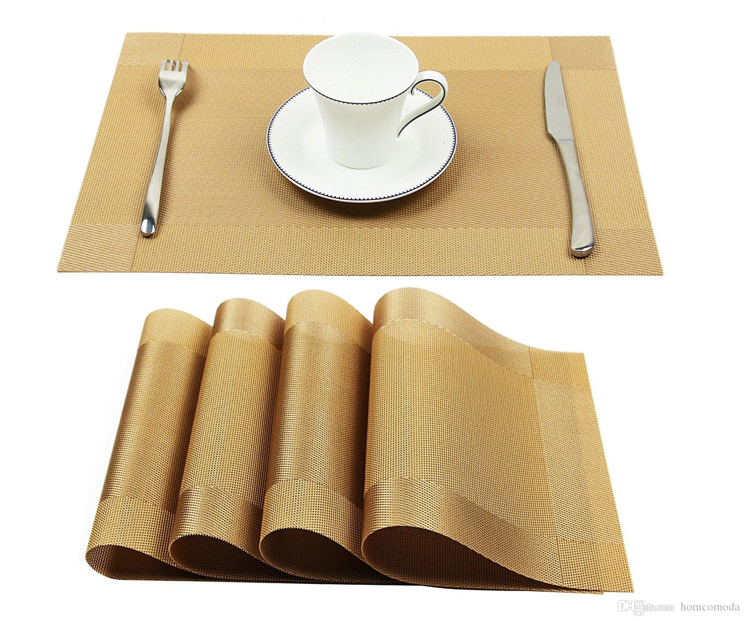 2019 Vinyl Golden Placemats Heat Resistant Dining Table
