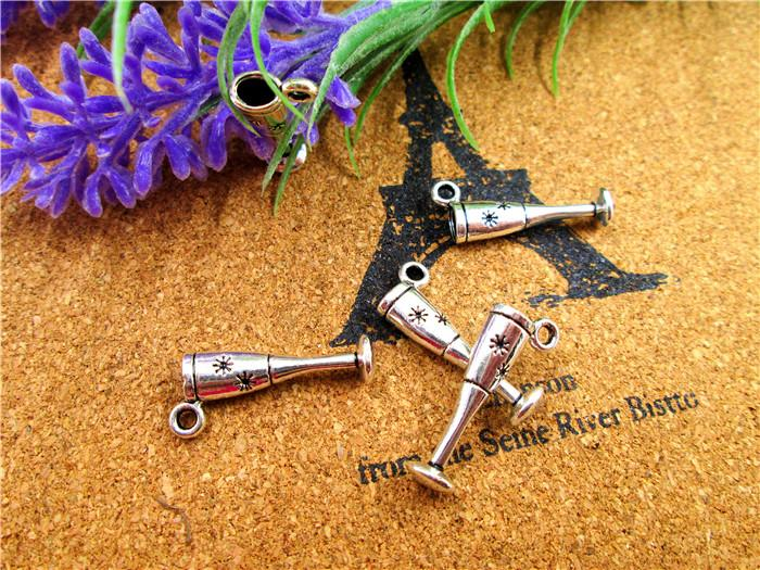 75pcs--Goblet Charms, Antique Tibetan silver 3D Wine Glass Charm pendants 20x9mm