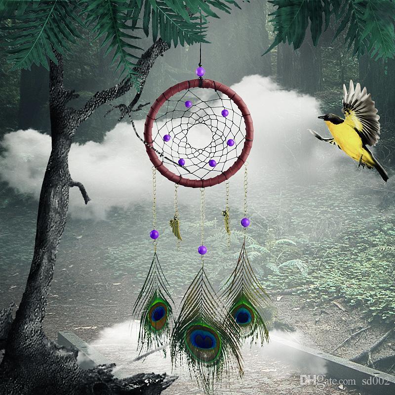 Pavão Pena Dreamcatcher Criativo Wind Chime Pingente Pendurado Na Parede de Moda Dream Catcher Decoração Presente 12 3xr C