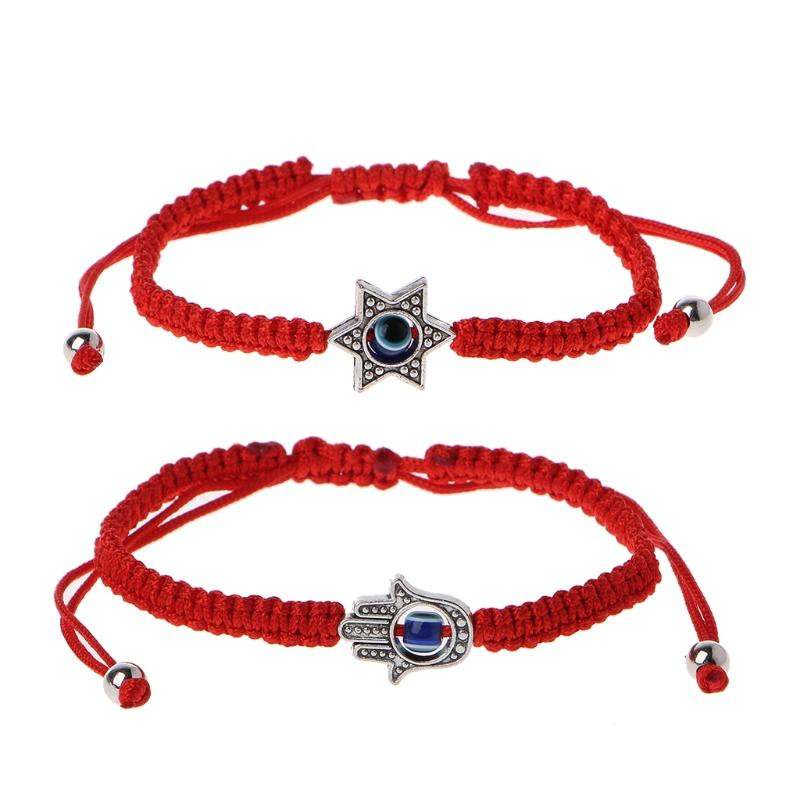Lucky Kabbalah Red String Hamsa Bracelets Blue Evil Eye Fatima Hand Jewelry
