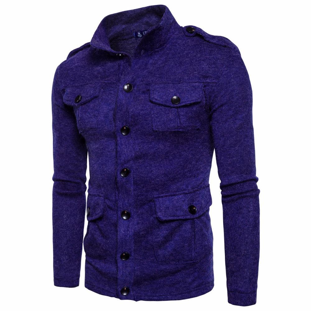 check out a9654 1a758 Camicie maglione bello uomo maglione retrò vento individualità multi-tasca  monopetto cardigan manica lunga maglie maschili