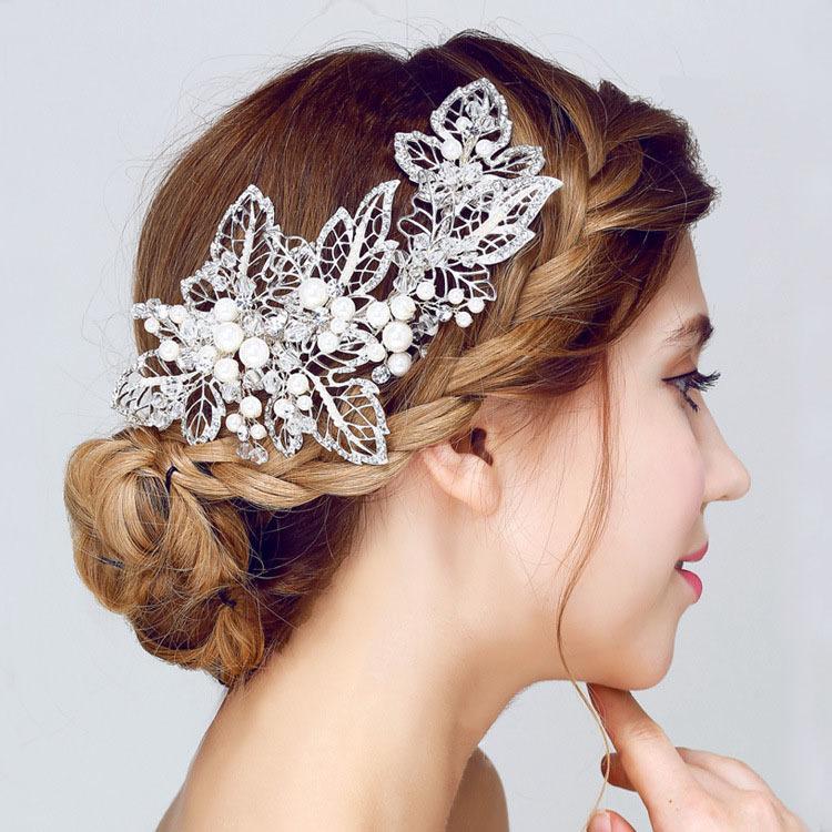 4c4f7536e66214 Großhandel Wunderschöne Handgefertigte Silber Kristall Perlen Blume Blatt  Hochzeit Haarspange Haarspangen Bridal Headpieces Haarschmuck Brautjungfern  S919 ...