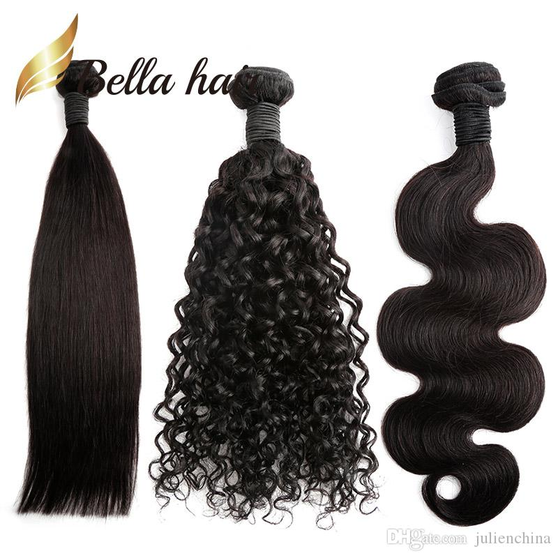 Paquetes de cabello brasileño Color natural Onda recta del cuerpo Extensiones de cabello humano rizado profundo 100 Julienchina Trenza-Donante Bella cabello 1/2/3 /