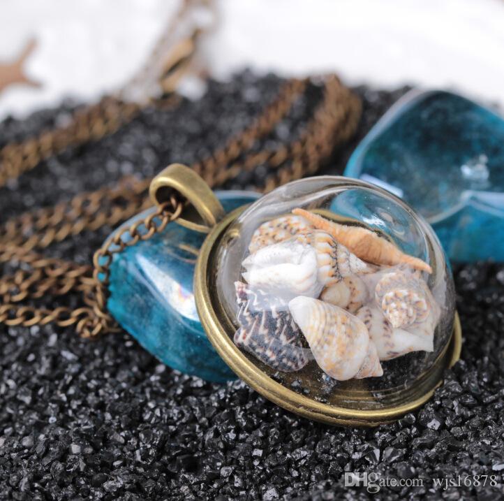 Heiß ! 2019 mode Strand Wind Shell Conch Star Anhänger Halskette Glas Mondschein Edelstein Ozean Element Halskette Für Frauen Schmuck Zubehör