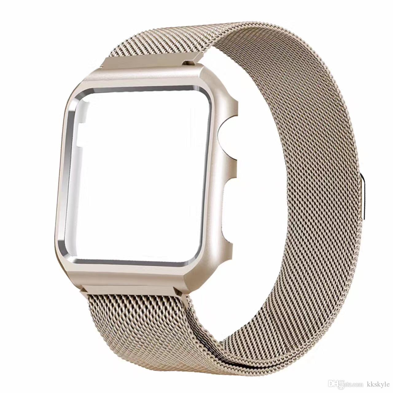 Apple Watch Band 38mm 40mm 42mm 44mm,Milanese Loop Stainless Steel Magnetic Band with Metal Case for Apple Watch Series 1/2/3/4/5
