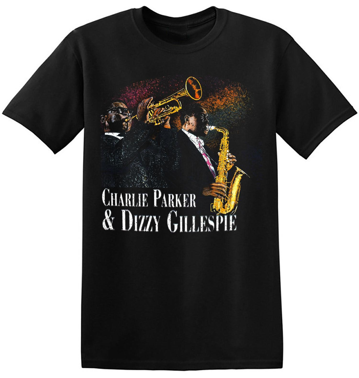 Charlie Parker T Shirt Cool Graphic New Black Retro Jazz Music Band Tee  4-A-003 Short Sleeve Mens Formal Shirts