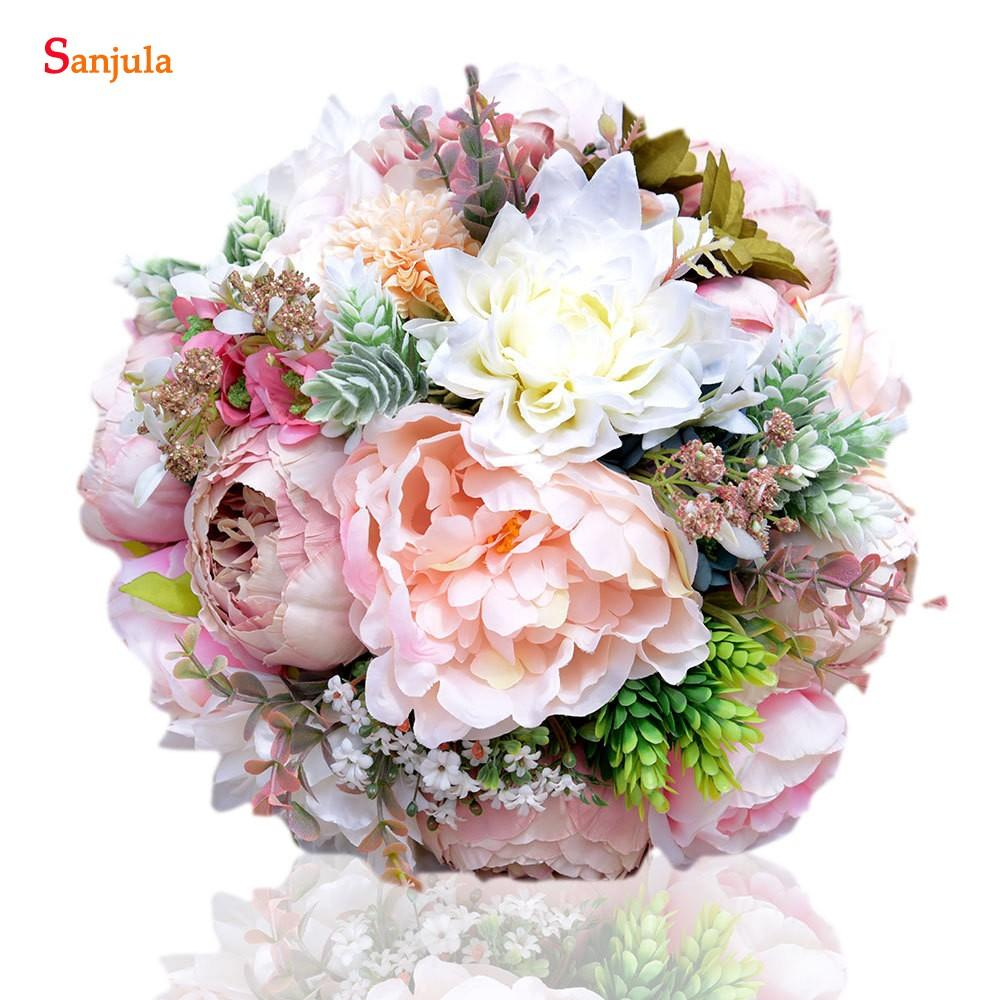 Peony Bridal Flowers Aritifical Bouquet Holder Colorful Hand Wedding ...