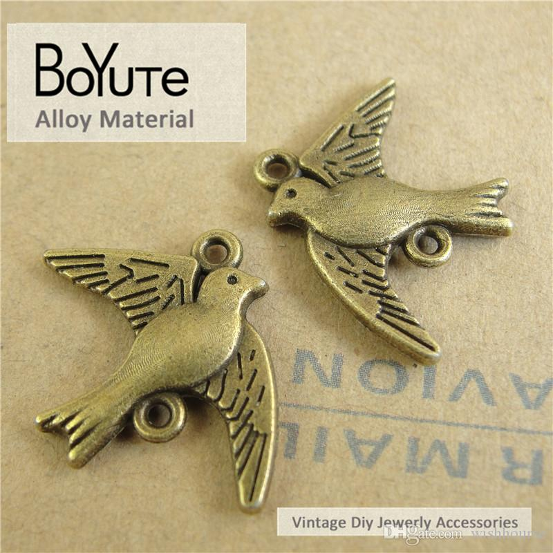 BoYuTe  18*22MM Vintage Diy Accessories Parts Wholesale Antique Bronze Plated Alloy Birds Connector for Jewelry Components