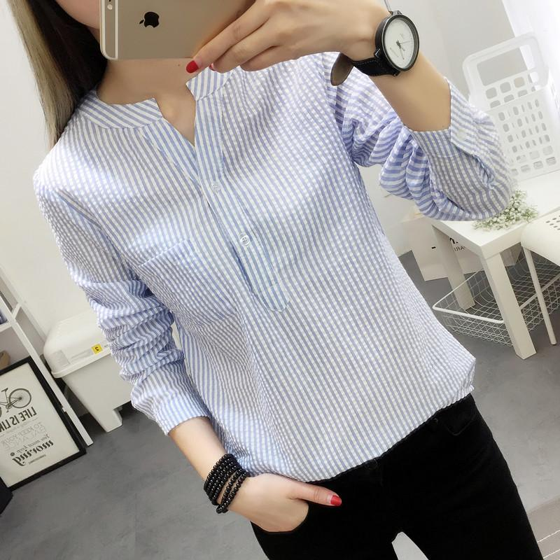 29d52db8e77 Women Blouses Shirt Female 2018 New Autumn Cotton Linen Casual Striped Long  Sleeve Shirt Women Tops Ladies Clothing S-XL Blusas Shirt Female Women  Blouses ...