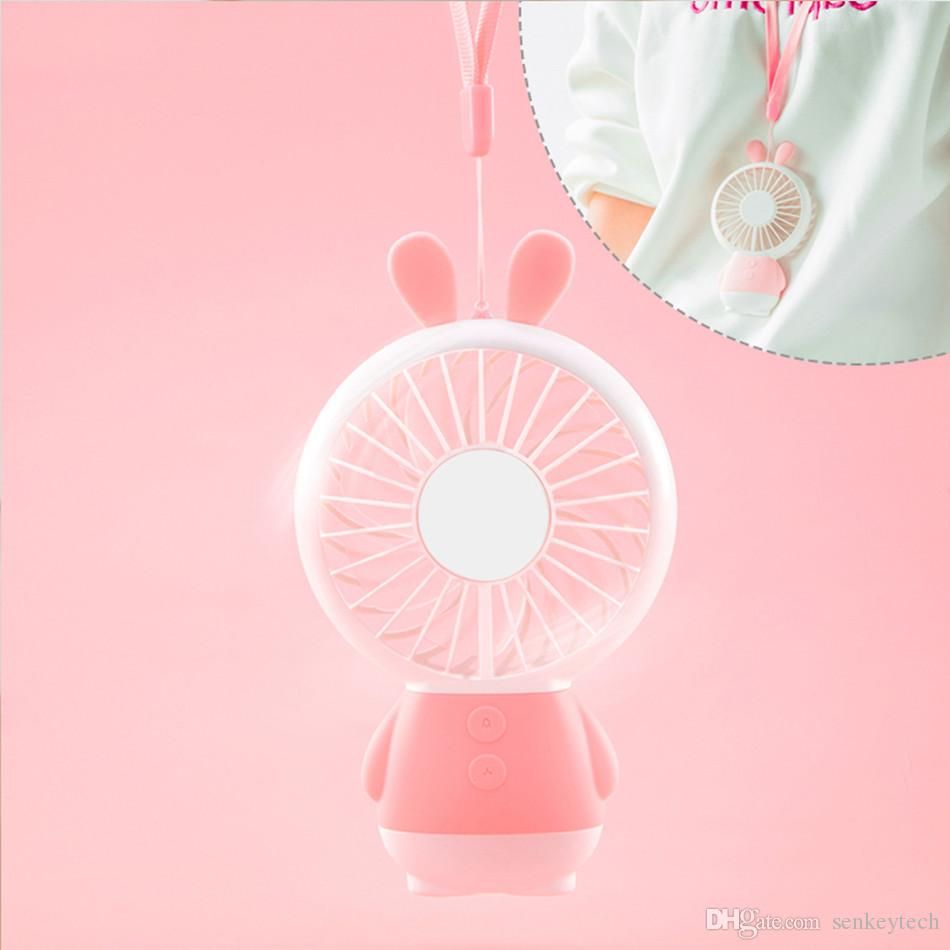 2018 New Design Rechargeale Mini USB Fan Candy Color Rabbit &Bear Style Handheld Portable Fan With LED Night Light and Necklace Lanyard