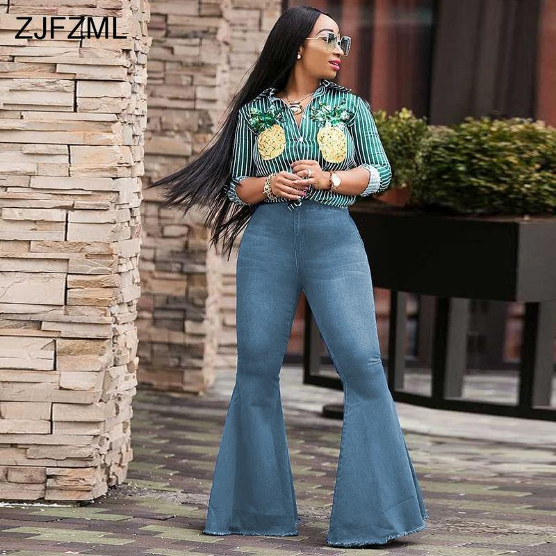 c5fd3374166 Compre ZJFZML Pantalones Vaqueros Acampanados De Cintura Alta Para Las  Mujeres De Moda Azul Campana Inferior Flacas De Mezclilla Pantalones  Casuales Para ...