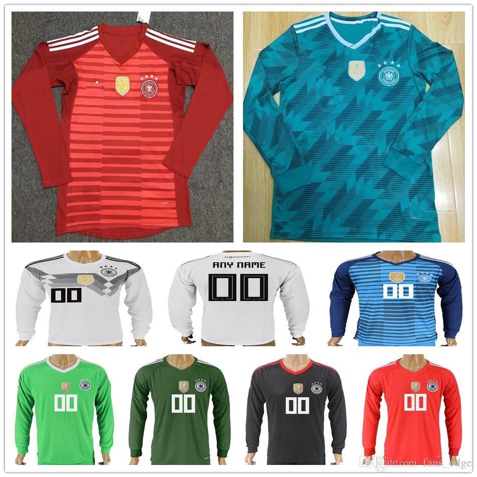 d64420842c9 2019 2018 Germany World Cup Long Sleeve Soccer Jerseys Goalkeeper 1 NEUER  22 TER STEGEN Custom SANE WERNER OZIL KROOS MULLER Football Shirt From ...