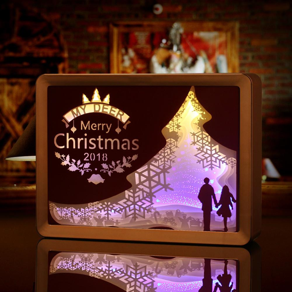 2019 Christmas Light Shadow Paper Carved Table Lamps Diy Creative