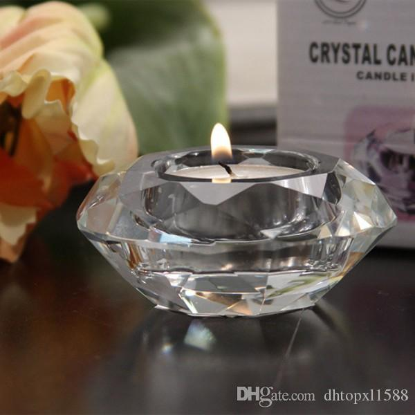 Wedding Candle Favors Crystal Glass Diamond Shape Tealight Candle Holder Bridal Shower Party Favors gift banquet table decor