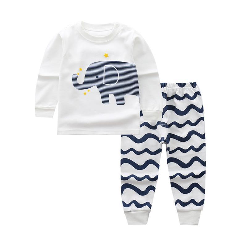 b96c6563a7 2018 Autumn Kids Clothes Baby Girls Boys Pajamas Cartoon Print Nightwear  Sleep Sets Newborn Children Cotton Sleepwear Pajama Sets Cheap Pajama Sets  2018 ...