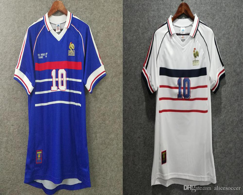 e6ae7560e 2019     Retro 1998 French Soccer Jersey Home Away Thai Aaa Custom World Cup  Football Shirts Fans Embroidery Logo ZIDANE 10 HENRY 12 Deschamps 7 From ...