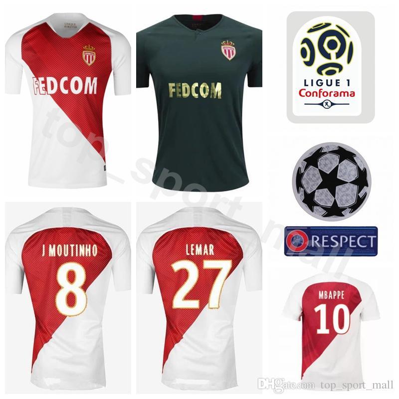 2019 Men Ligue 1 Soccer Jersey AS Monaco FC LEMAR MBAPPE FABINHO TREZEGUET  BERNARDO SILVA Football Shirt Kits Custom Name Number White Team Green From  ... 6653351ac