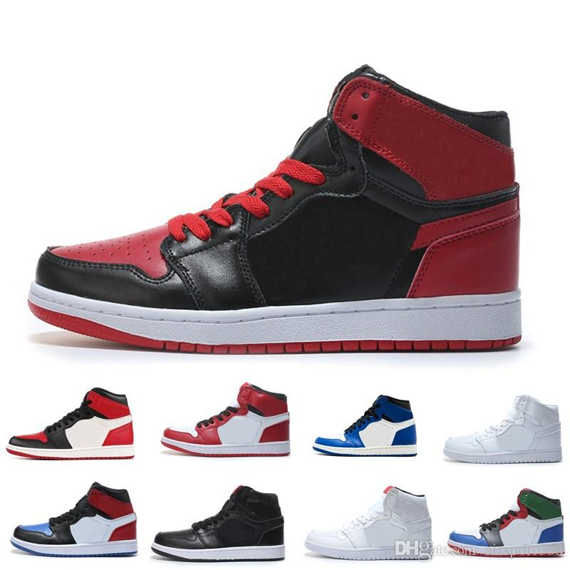 hot sale online 51d93 7fb58 New 1 red black white men basketball shoes sports sneakers trainers  wholesale running trainers outdoor 1s top quality size 7-12