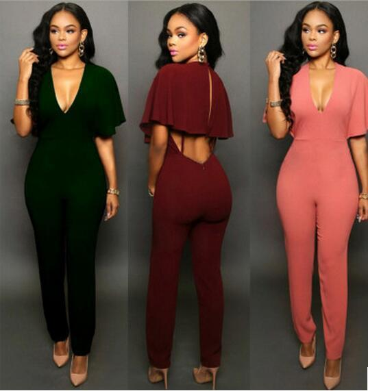 Women Jumpsuit 2018 High Waist V-Neck Sleeveless Cape Rompers Loose ... 9bff4596570f