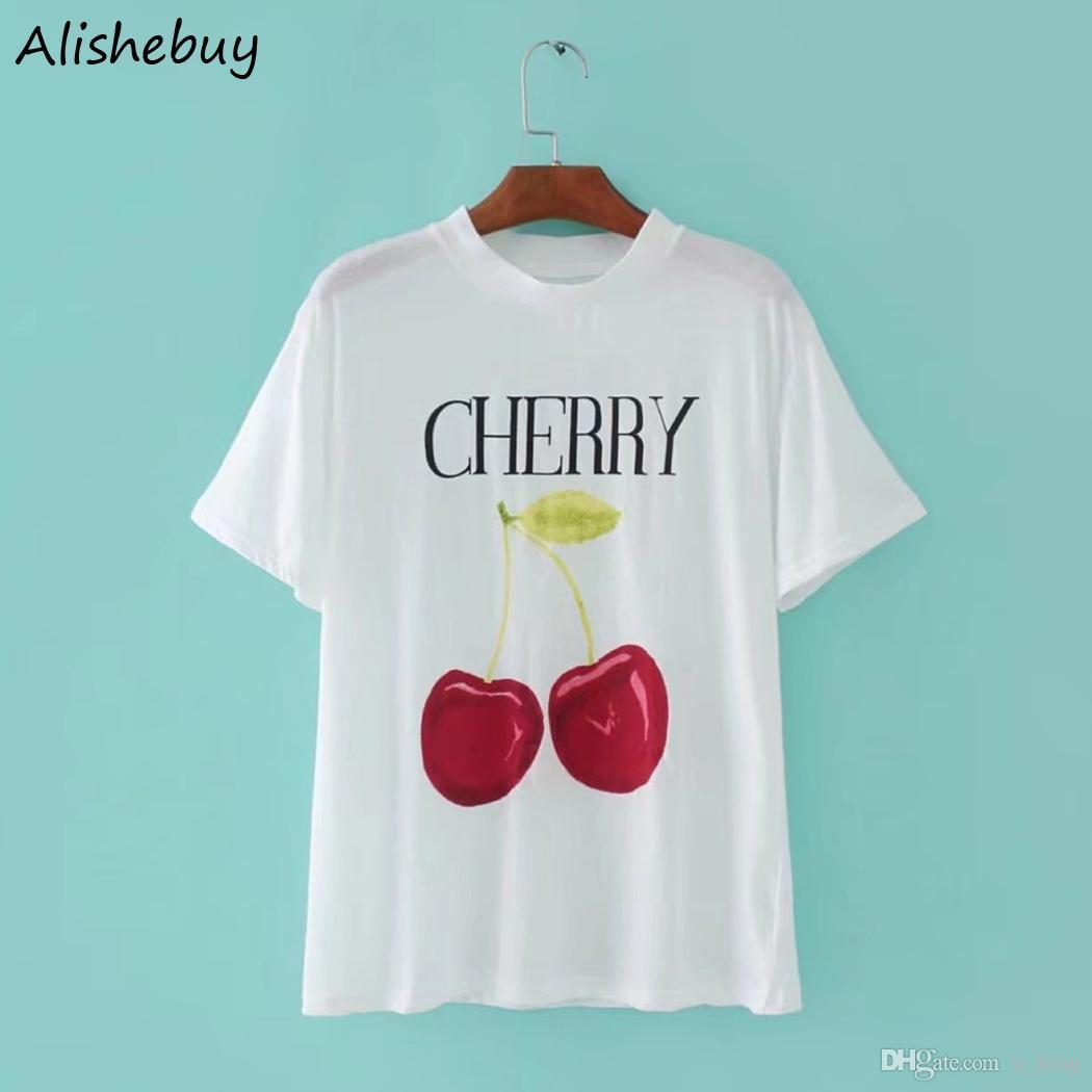 Plus Acquista Estiva Shirt T Donna Frutta Stampa Da Di Con NmnPyw8O0v
