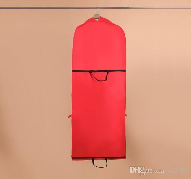 155X55cm Red Color Garment Bag for Wedding Dress/Wedding Gown Non-woven Foldable Dust Cover/Storage Carry-on Bag