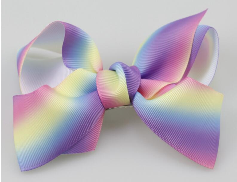 12cm grosgrain ribbon hair bows hair clips boutique rainbows bow girls hairbow For Teens Gift