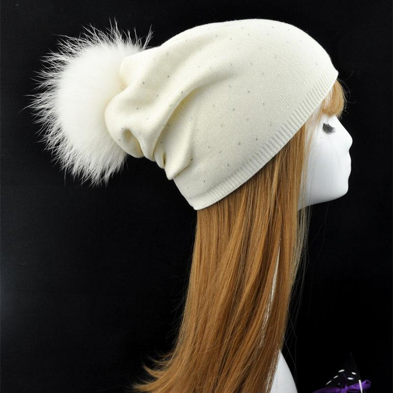 5d72636fed5 Real Fur Pom Pom Hat Women Winter Female Wool Knitted Beanies Removable Natural  Raccoon Fur Pompom Hat Cashmere Beanie Beach Hats Beanie Hats For Men From  ...