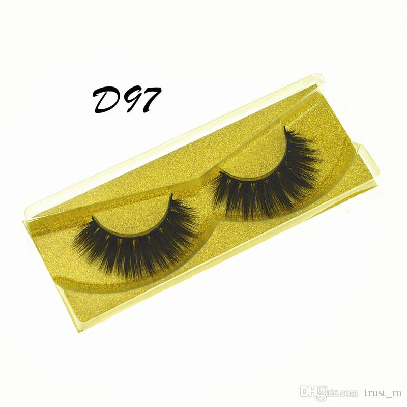 Mink pestañas pestañas falsas naturales extensión de la pestaña falsa gruesa cruz Faux 3d visón pestañas maquillaje de ojos GGA1759