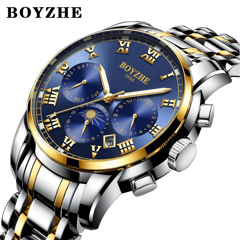 3c36dce61 BOYZHE Brand Men's Automatic Mechanical Watch Stainless Steel ...